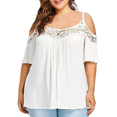 LuckyGirls Camisetas Mujer Manga Corta Blanco Encaje Originales Tirantes Hombros Descubiertos Sexy Personalidad Camisas Blusas Remeras