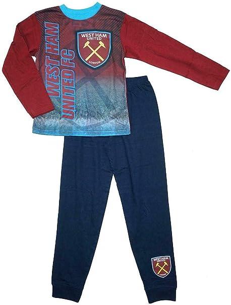 Boys West Ham United Football Pyjamas Kids PJs Nightwear 4 to 12 Years Burgundy