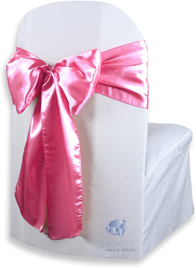 Sparkles Make It Special 20 pcs Satin Chair Cover Bow Sash - Hot Pink - Wedding Party Banquet Reception - 28 Colors Available