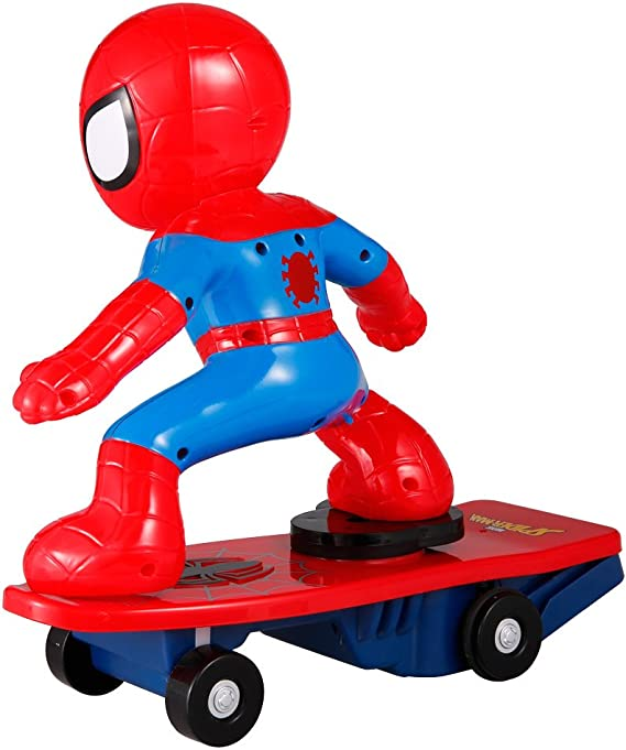 MODELTRONIC Coche RC superhéroes de Juguete Patinete RC de Spiderman Giratorio Skateboard Marvel Oficial 2.4Ghz con Sonidos antivuelco M021: Amazon.es: Juguetes y juegos