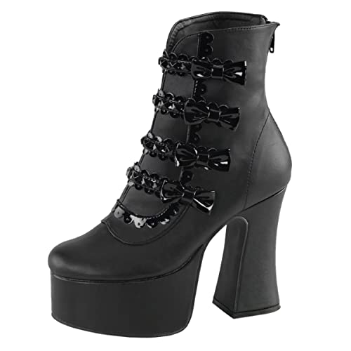 Womens Fashion Boots Black Shoes Chunky Heel Booties Bows Studs  Inch Heel