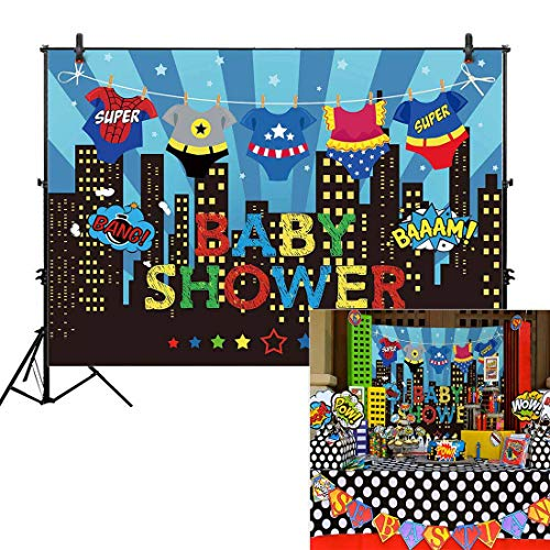 Allenjoy 7x5ft Superhero Baby Shower Backdrops Blue Super City Skyline Buildings Children Boy 1st Themed Birthday Photography Party Event Banner Photo Studio Booth Background Baby Shower Photocall ()