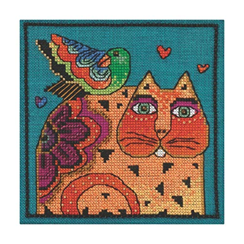 (Mill Hill Feathered Friend Beaded Counted Cross Stitch Kit (Linen) 2015 Laurel Burch LB305104 )