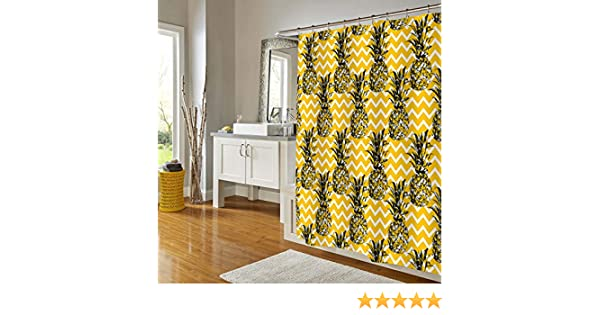 MitoVilla Sketch Pineapple Shower Curtain Gold Black White Zig Zag Pattern Stylish Bath Decorations Summer Bathroom Decor Sets with Hooks for Teens in Antique Print 72 X 78 Inch