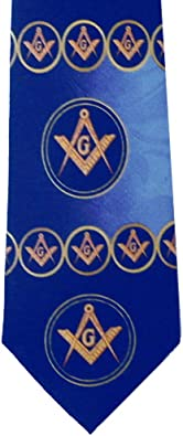 Mason Compass Mens Necktie Fraternal Order Square Masonic Gift Blue Neck Tie