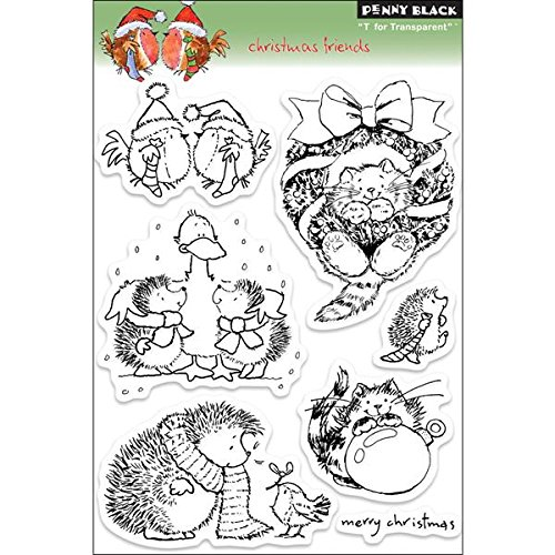 Penny Black 200836 Christmas Friends Sheet Clear Stamp, 5 by 7.5-Inch