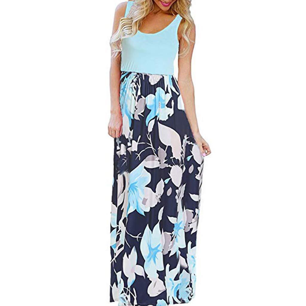 Fanyunhan Women's Summer Sleeveless Boho Dress O-Neck Floral Print Tank Sundrss Beach Long Dress Blue