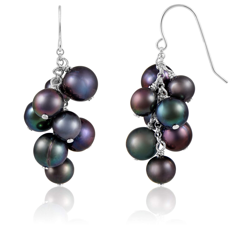 Splendid Pearls 925 Sterling Silver Fish Hook Dangle Earrings Cluster Pearls Freshwater Cultured Full-Drilled Freshwater Pearls