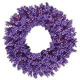 Vickerman 24'' Flocked Purple Wreath Featuring 150 Pvc Tips, Purple Flocking, and 50 Purple Dura-Lit Led Italian Style Lights on Purple Wire