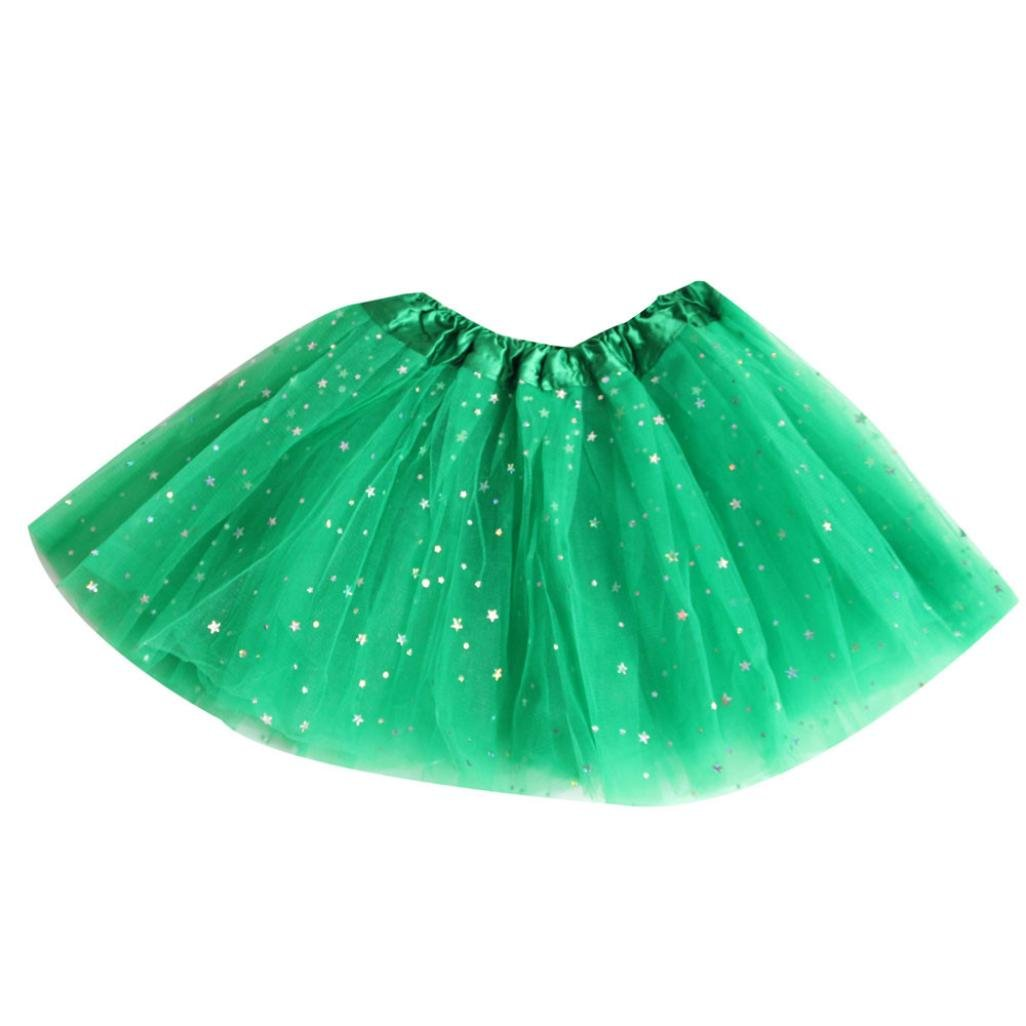 iumei 6 Color Girls Tutu Skirts Star Sequins Tulle Ballet Pettiskirt Princess Fancy Dresses (2-7T(2-7 Years), Green)