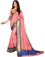 Craftsvilla Women's Bangalore Silk Embossed Traditional Peach Saree with blouse piece