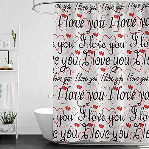 Long Shower Curtain,I Love You Beauty of Valentines Birthday Forever Never Let Me Go Happiness Theme,Shower stall Curtain,W108x72L,Red Black White
