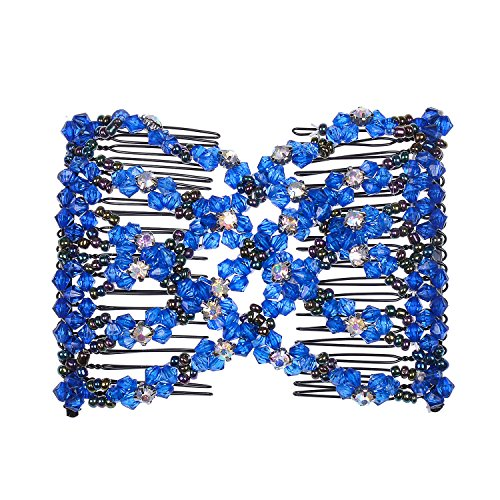 Combs Double Stretching Combs Clips, perfect for Easy Ponytails, UpDos and Twists, Thick and Thin Hair, New Hair Accessory for Popular Hairstyles (Blue) (Double Bead Line)