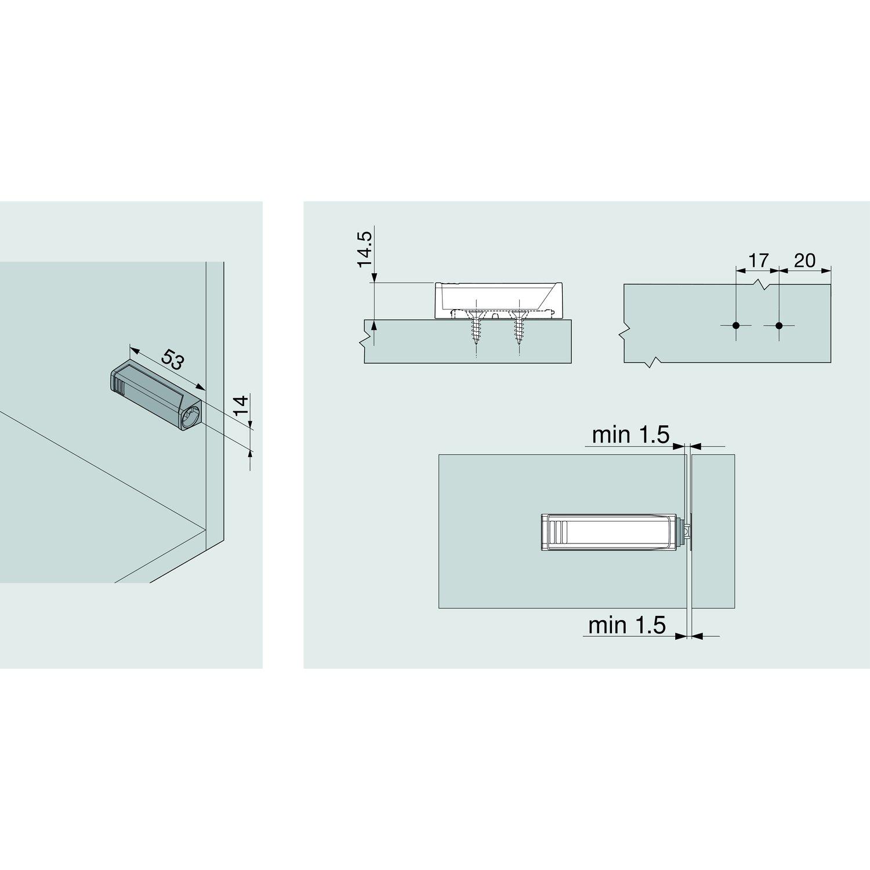 BLUM /Öffnungssystem Tip-On mit Adapterplatte zum Anschrauben 2 St/ück