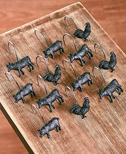 The Lakeside Collection Farm Life S/12 Shower Curtain Hooks - Farm Shower Curtain Hooks