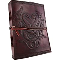 18 cm Double Dragon Leather Blank Book grimoire Leather Journal Book of Shadows Spell Book Leather Diary Journal…