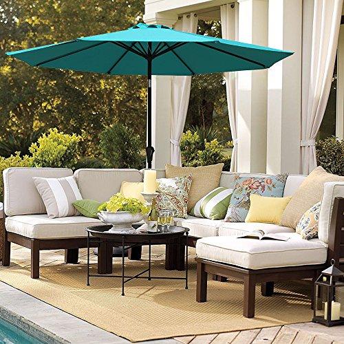 Fresh-looking, aluminum patio umbrella in turquoise.