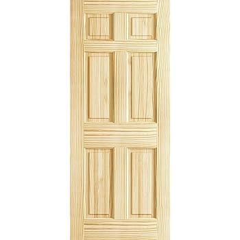 6 Panel Door Interior Slab, Solid Pine (24x80)