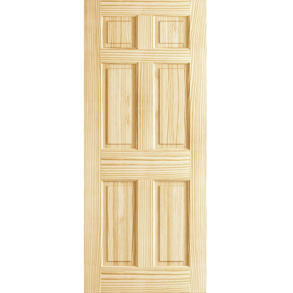 6 Panel Door Interior Slab, Solid Pine (30x80)
