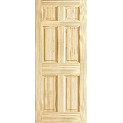 Charming 6 Panel Door Interior Slab, Solid Pine (30x80)