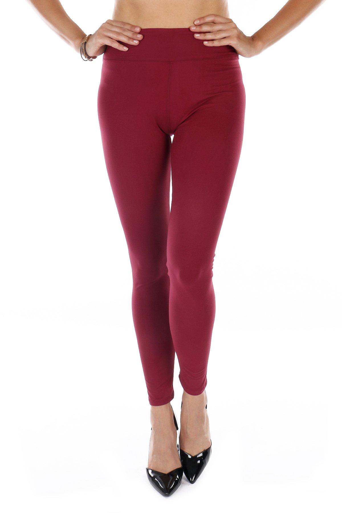 TODAY SHOWROOM Silky Soft Non See Thru High Waist Premium Yoga Leggings (Plus Size(12-22), Mulberry)