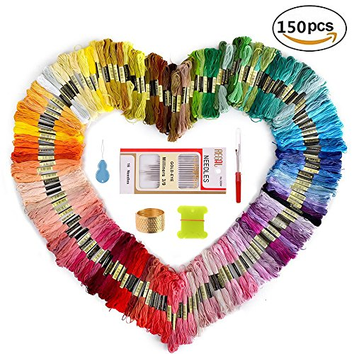 Embroidery Thread and Embroidery floss  Sotica 150 Skeins Embroidery Floss with 16 Pcs Embroidery Needles,friendship bracelet string,Cross Stitch Threads and Cross Stitch Tool Kit, Perfect Embroidery