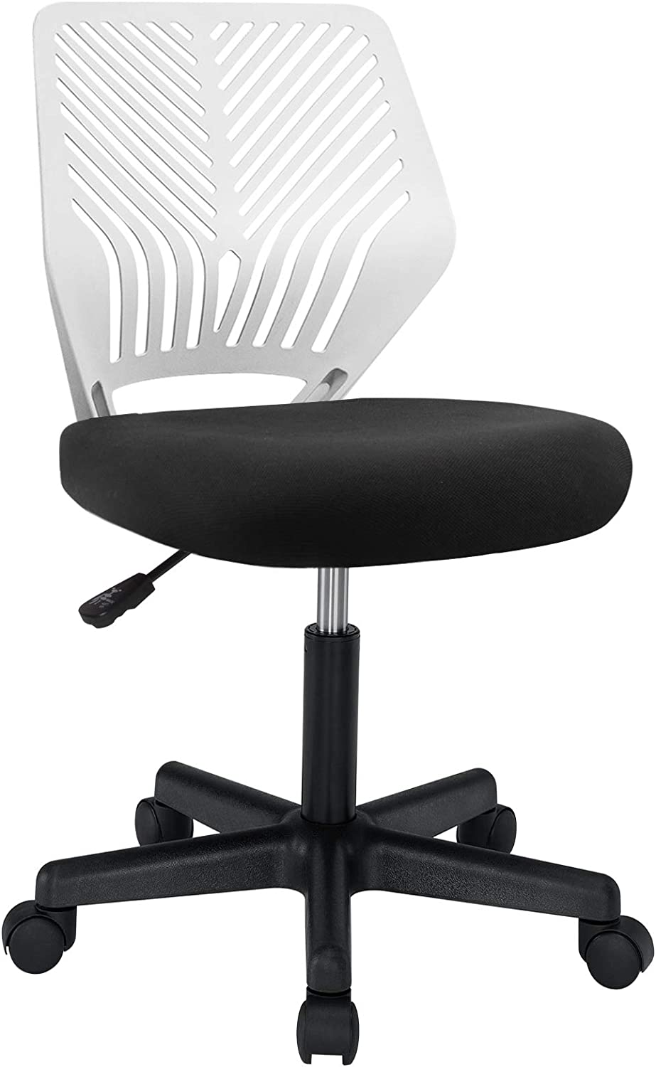 BOSSIN Kids Desk Office Chair for Teens Computer Mesh Chair with Low-Back Armless Adjustable Swivel Ergonomic Home Office Student Chair Black White(White)