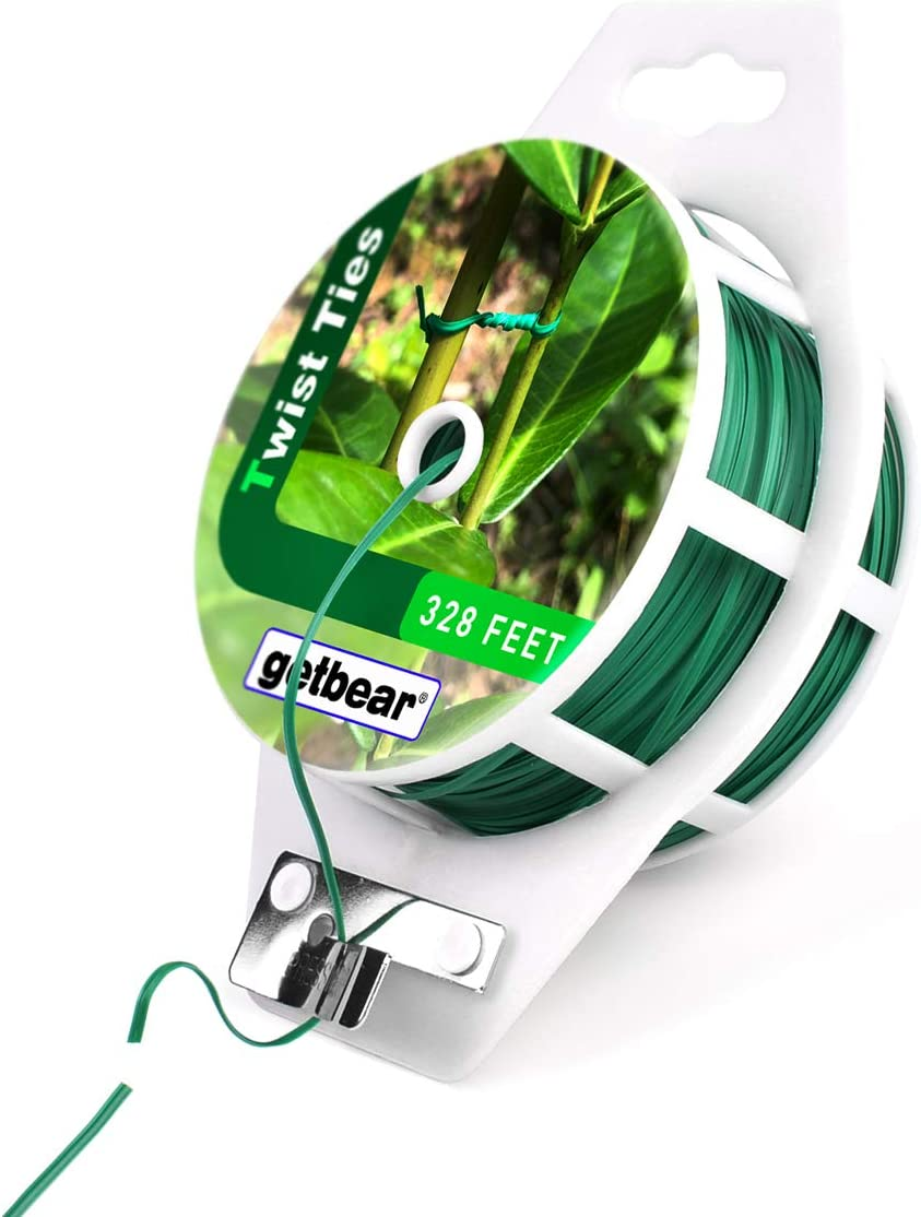 Garden Plant Twist Tie Reel, Reusable Plastic Ties, Multi-Use Sturdy Tree Tie Cable with Cutter for Gardening Plants Tree Flower,Home and Office Organization - 328 feet (1 Pack)