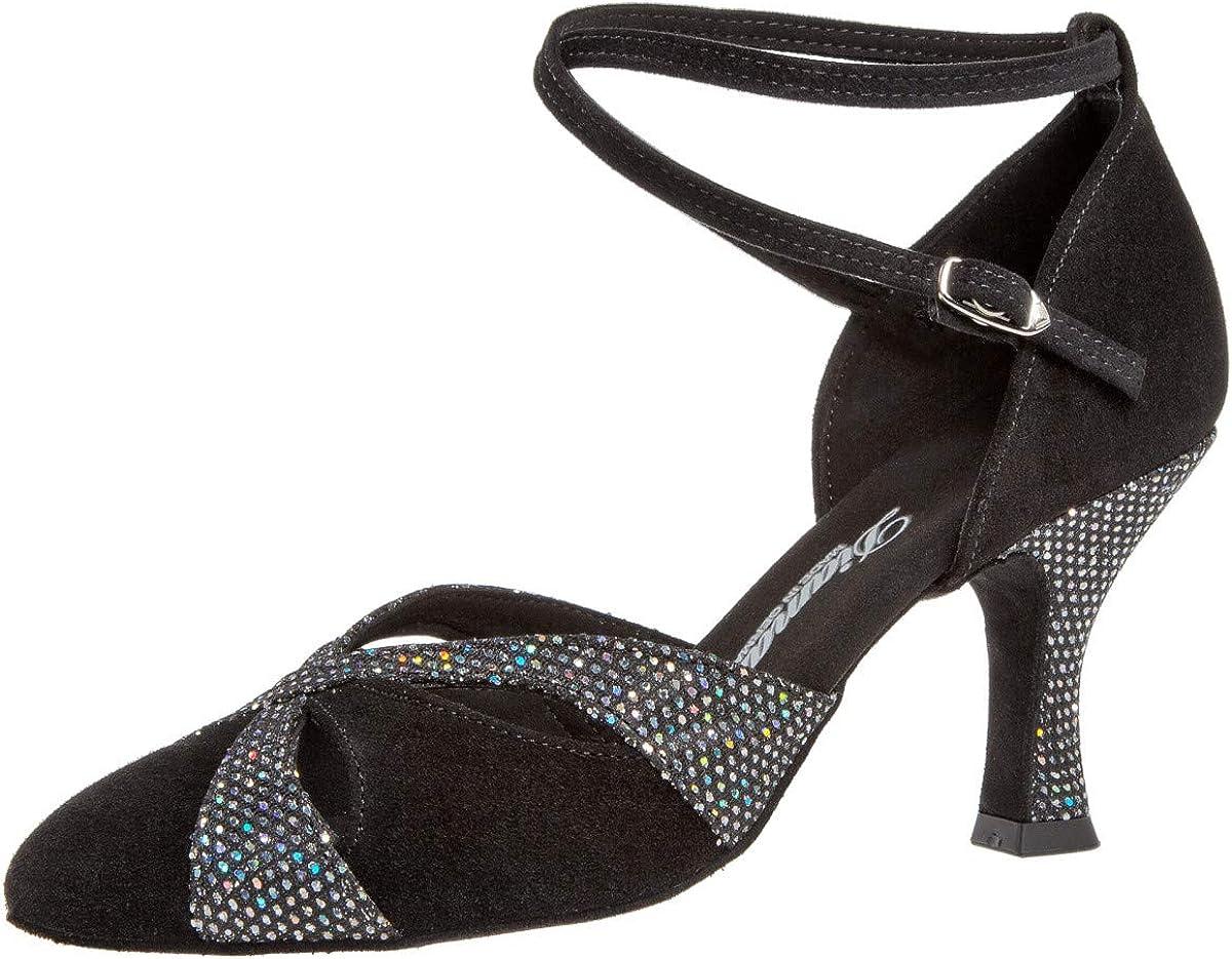 Su/éde Noir//Textile Argent Hologramme 7,2 cm Flare Femmes Chaussures de Danse 151-109-179 Special Edition