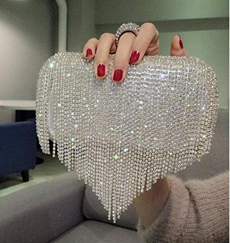 Chain Bag Main Strass Dinner Shining Silver à Mode Ladies Exquis Nuptiale Tassel 'Evening GZHGF Sac wBqYpZF