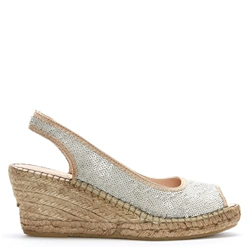 21db2317110 DF By Daniel Shimmer White Sequin Wedge Espadrilles 37 White  Amazon ...