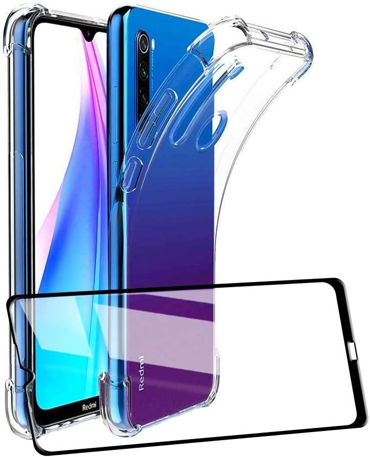 UCMDA Funda para Xiaomi Redmi Note 8T con Protector de Pantalla, Fundas Transparente Silicona TPU Carcasa para Xiaomi Redmi Note 8T con Cristal Templado (Transparente)