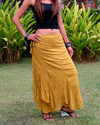 Billy's Thai Shop Cotton Wrap Skirt Hippie Wrap Skirt Boho Skirts for Women One Size Fits Most. Gold
