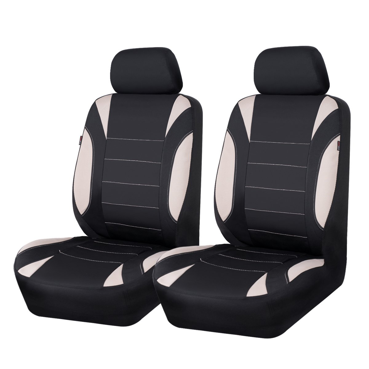 CAR PASS Neoprene 6 Pieces waterproof Two Front Seat Car Covers Set Black and Gray LJ