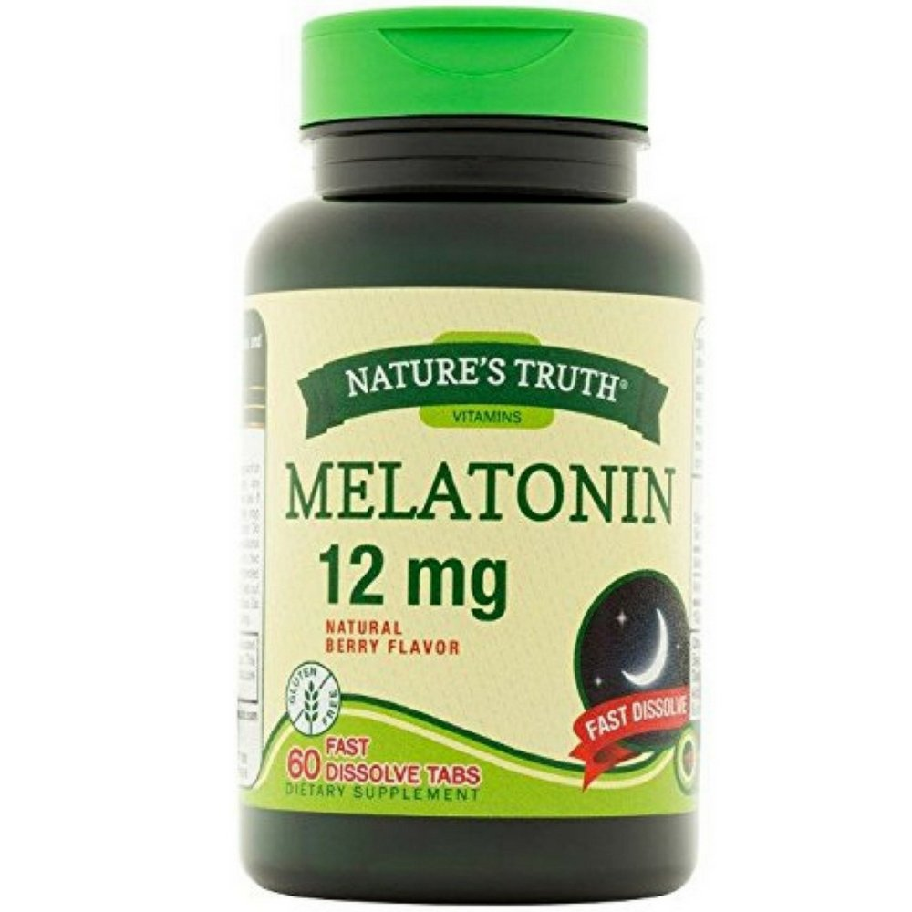 Natures Truth Melatonin 12 mg Fast Dissolve Tabs Natural Berry Flavor - 60 ct, Pack of 3