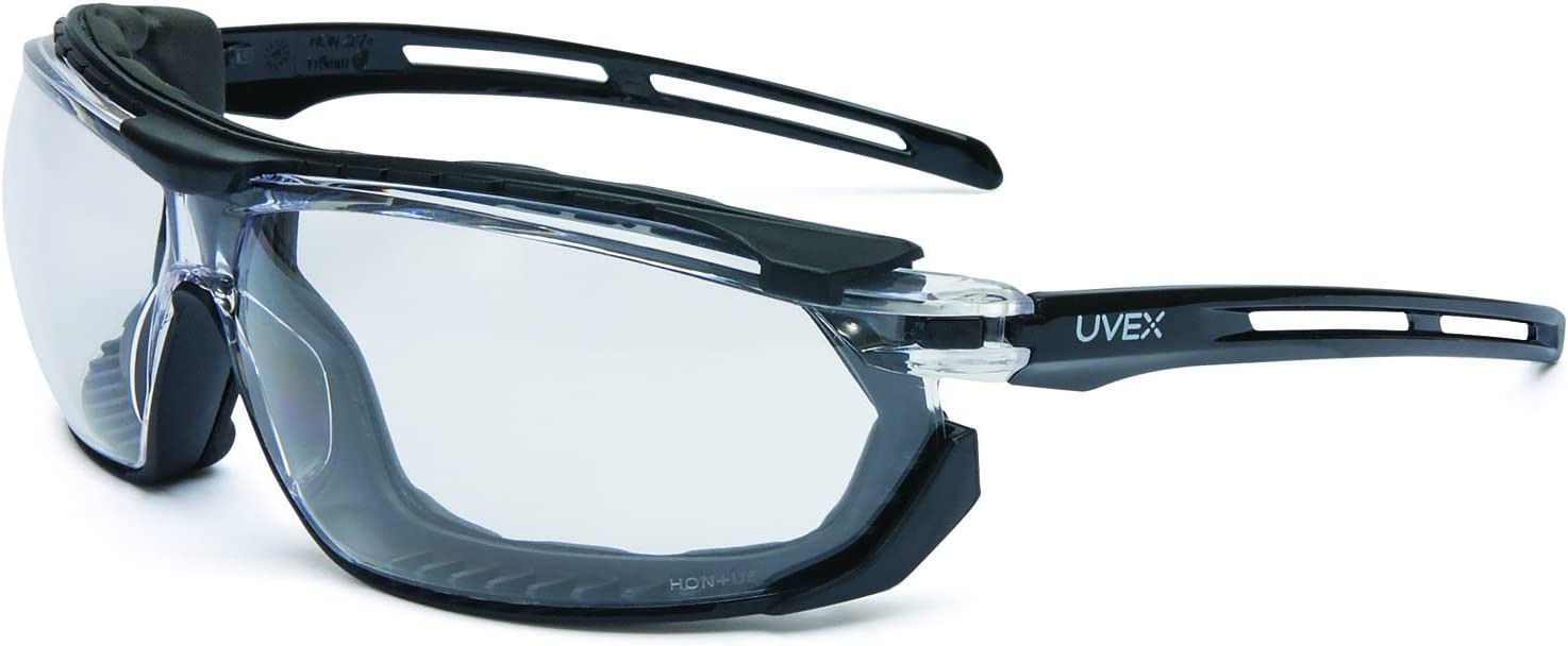 Gray Lens and Uvextra Anti-Fog Coating UVEX by Honeywell S4041 Tirade Sealed Safety Eyewear with Black Frame