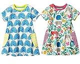 REWANGOING 2 Pack Little Grils Cartoon Print Short Sleeve Summer Cotton Striped Casual Dress 3T