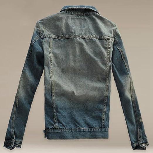 LASPERAL NEW New Autumn Casual Chaqueta Men Denim Jacket Slim Fit Fashion Turn-down Collar Male Cowboy Jackets Plus Size 3XL at Amazon Mens Clothing store: