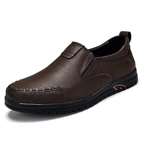 JIALUN-Shoes - Mocasines de Papel para Hombre, Color Marrón, Talla 39