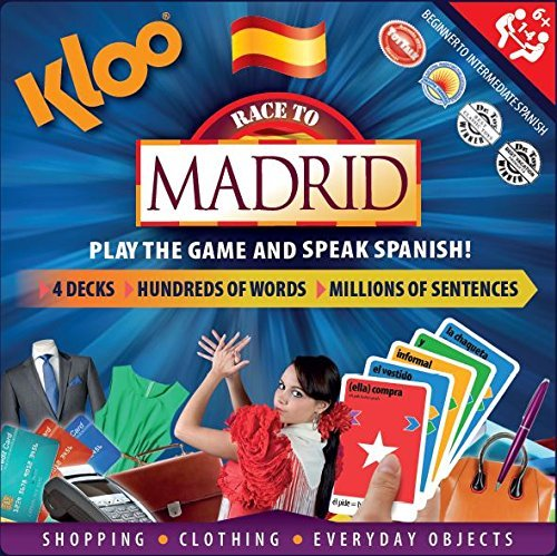 KLOO's Race to Madrid - The Learn to Speak Spanish Language Board Game - Shopping, Clothing & Everyday Objects
