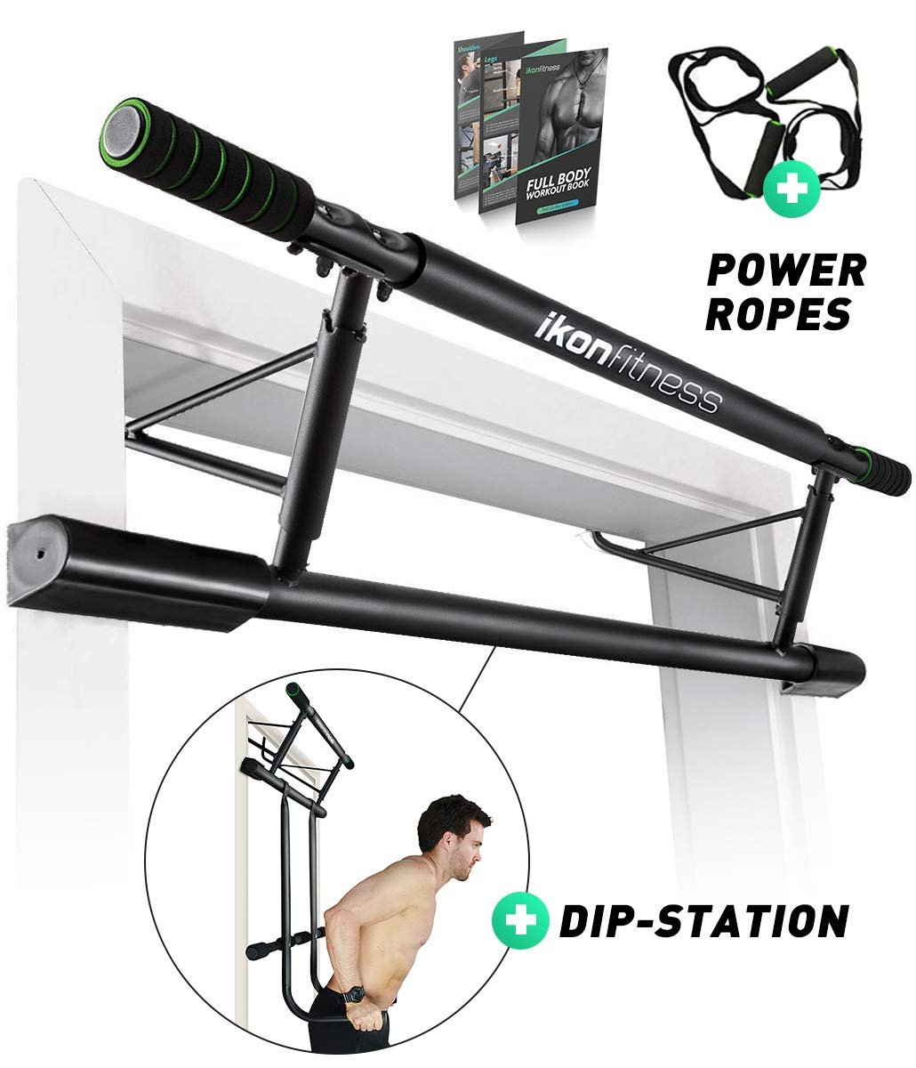 Ikonfitness Ultimate 4 in 1 Doorway Trainer Raised Height Pull Up Bar, Dips Bar Power Ropes for A Total Body Home Workout – USA Original Patent, USA Designed, USA Shipped, USA Warranty