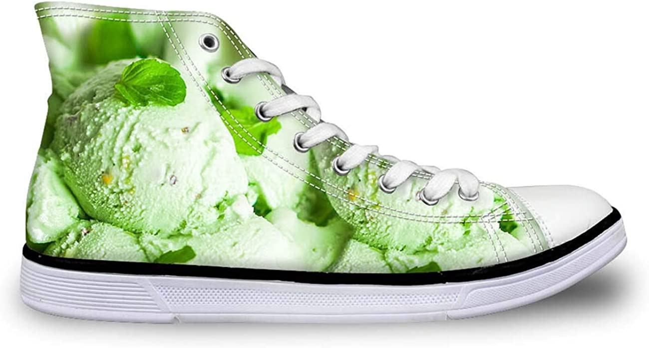 Women Fresh Green Canvas Shoes Hi Tops Lace Up Walking Sneakers Spring Style
