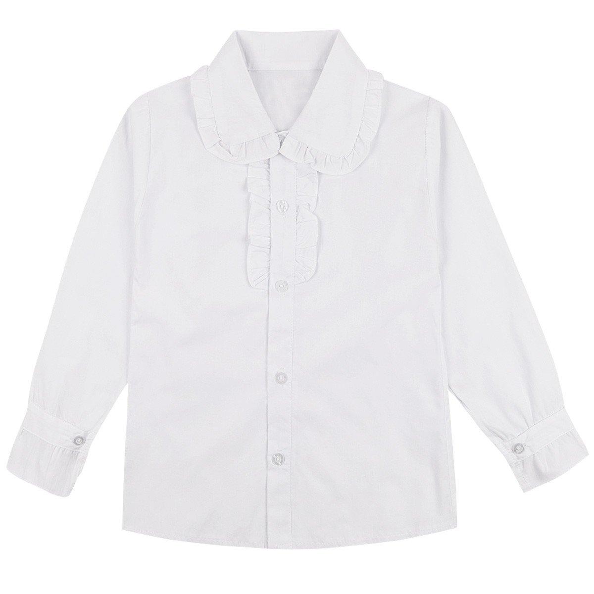 YiZYiF White School Uniform Tops Long/Short Sleeve Ruffle Collar Blouse for Little Big Girls Long Sleeve 7-8