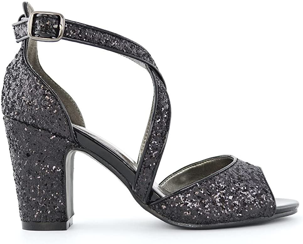 e12eb69a5a0ee ESSEX GLAM Women's Sparkly Strappy Low Block Heel Black Glitter Party  Sandals 5 B(M
