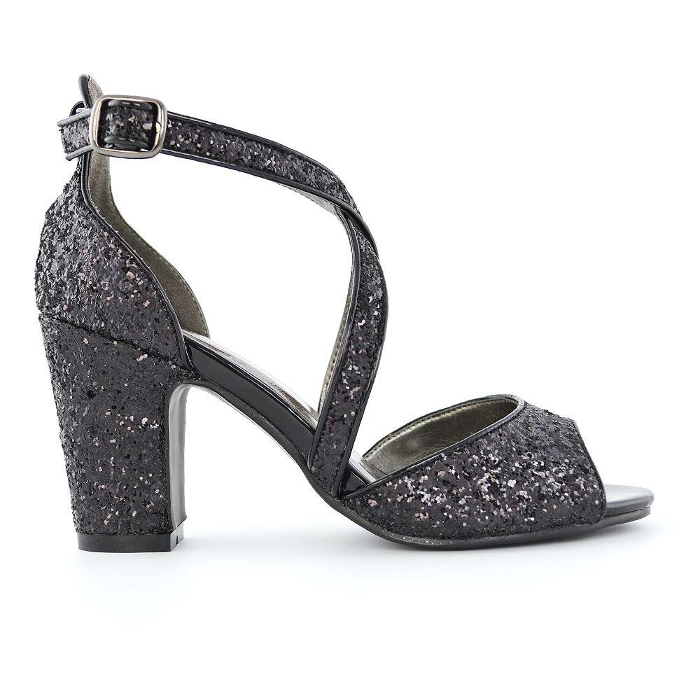 ESSEX GLAM Damen Sandaletten mit Blockabsatz Peeptoe Party Glitzer Abend Brautschuhe Abschlussball