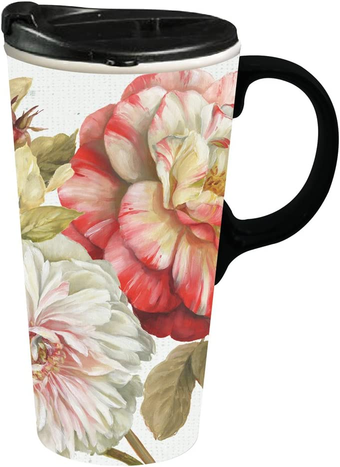 Romantic Afternoon Ceramic Travel Cup - 5 x 7 x 4 Inches