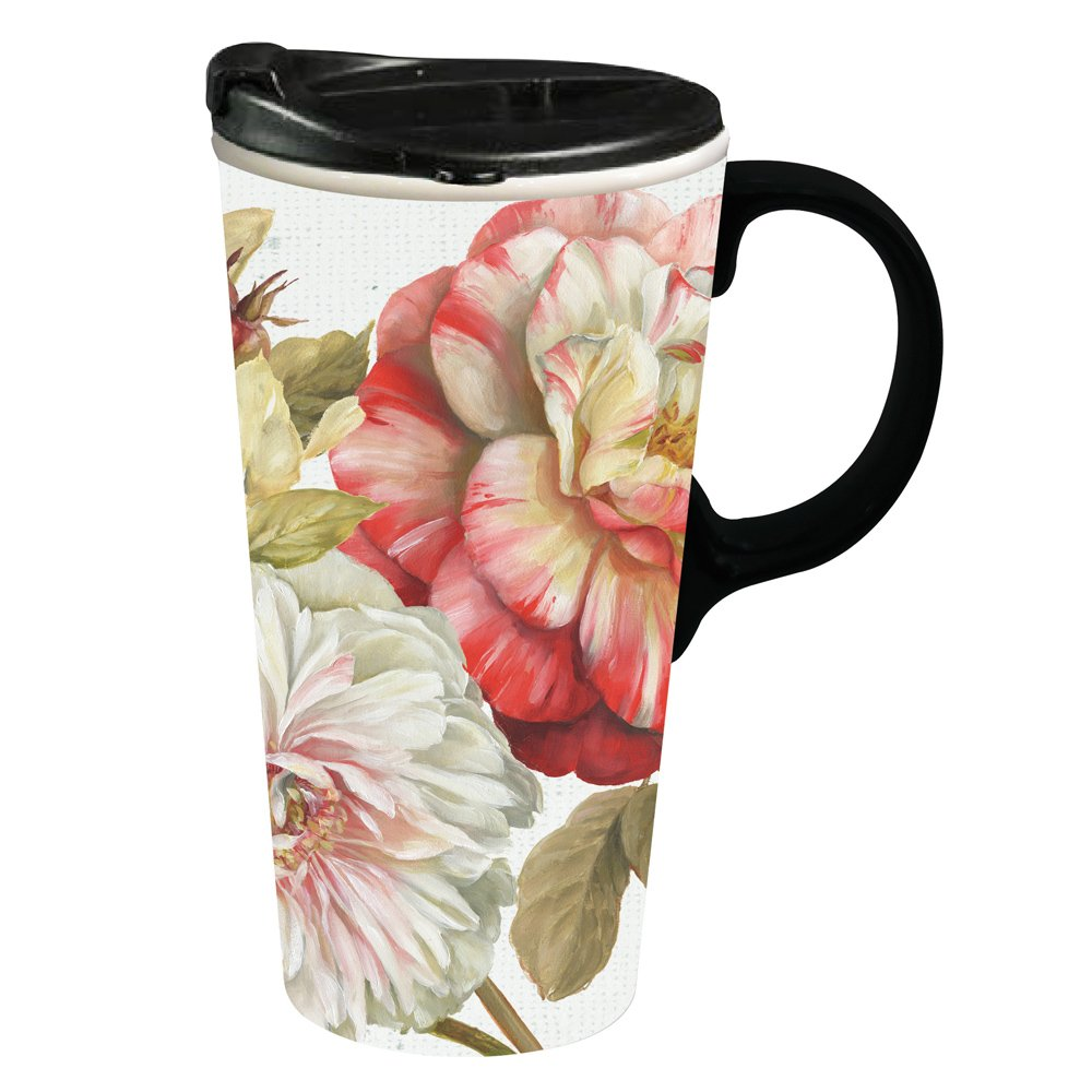 Cypress Home Romantic Afternoon Ceramic Travel Coffee Mug, 17 ounces by Cypress Home (Image #1)