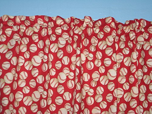 Red Base Ball Handmade Cotton Window Curtain Valance