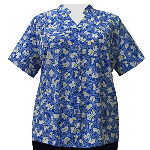 A Personal Touch Women's Plus Size Blue & White Floral V-Neck Blouse - 5X