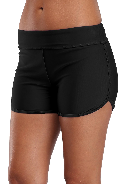 V for City Bathing Suit Bottoms for Women Workout Swim Shorts Active Boardshorts Black L
